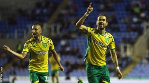 Mario Vrancic (right) celebrates his goal for Norwich