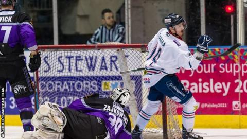 Cale Tanaka celebrates a Dundee goal against Braehead Clan from earlier in the season