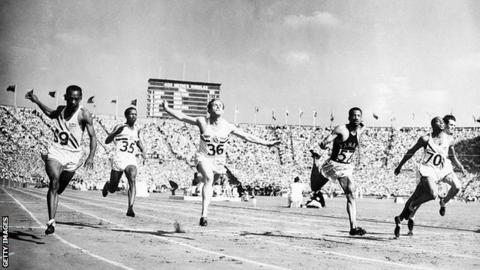 Harrison Dillard wins the 1948 Olympic 100m title in London