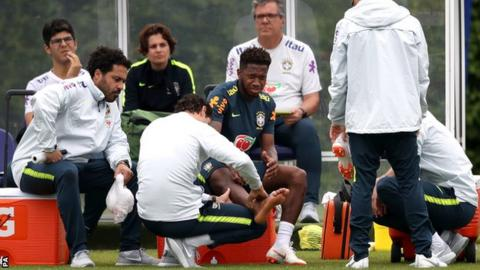 Fred was injured during Brazil's training session in London on Thursday