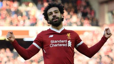Mohamed Salah celebrates scoring for Liverpool against West Ham