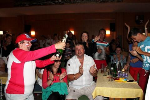 Kvitova's Wimbledon success is toasted with bubbly in Fulnek by fans including Marie Valova