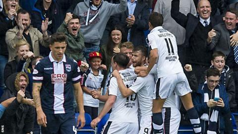 Dundee celebrate Rory Loy's converted penalty kick, which made it 2-0