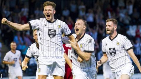 Jack Baird (left) celebrates his goal