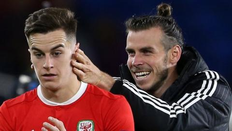 Gareth Bale in playful mood with Tom Lawrence after Wales beat Republic of Ireland 4-1