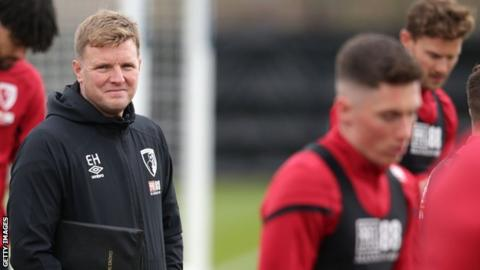 Bournemouth manager Eddie Howe at training