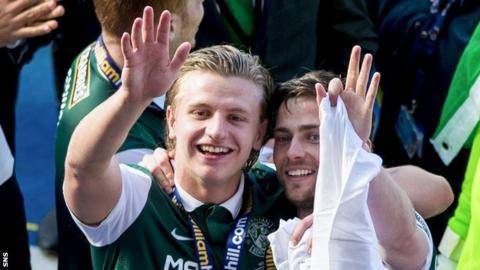Hibs' Jason Cummings and Lewis Stevenson celebrate