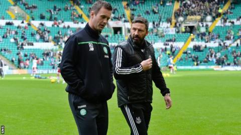 Celtic manager Ronny Deila and Aberdeen manager Derek McInnes
