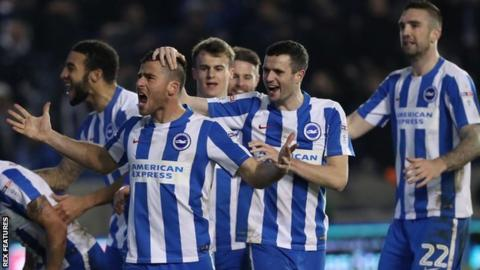 Brighton celebrate their winning goal