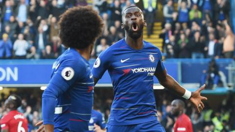 Willian and Rudiger celebrate