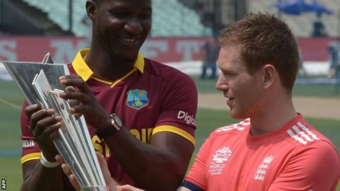 West Indies captain Darren Sammy (left) with England counterpart Eoin Morgan