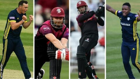 Cheltenham News Hampshire fast bowlers Kyle Abbott (left) and Fidel Edwards (right) will be hoping to contain Somerset's explosive batting line-up led by James Hildreth (second left) and Peter Trego (second right)