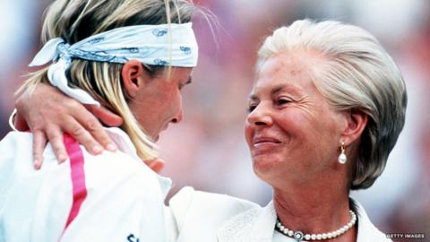 Jana Novotna sobs following her Wimbledon defeat by Steffi Graf