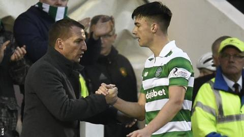 Celtic manager Brendan Rodgers (left) and Kieran Tierney