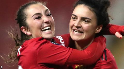 Manchester United Women celebrate a goal