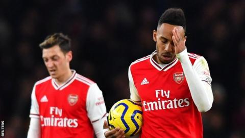 Arsenal playmaker Mesut Ozil (left) and striker Pierre-Emerick Aubameyang