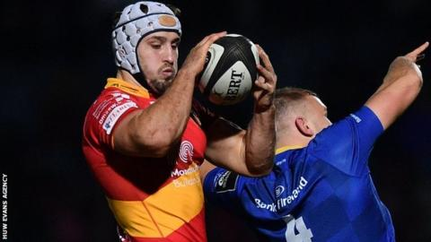 Olly Griffiths wins a lineout for Dragons against Leinster