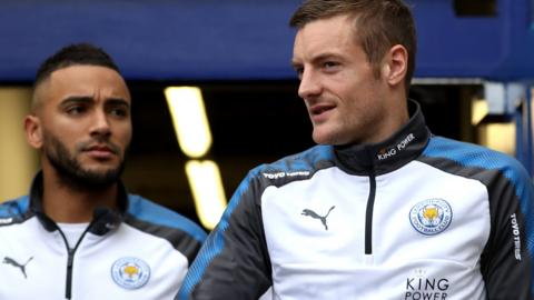 Jamie Vardy and Danny Simpson of Leiceter City