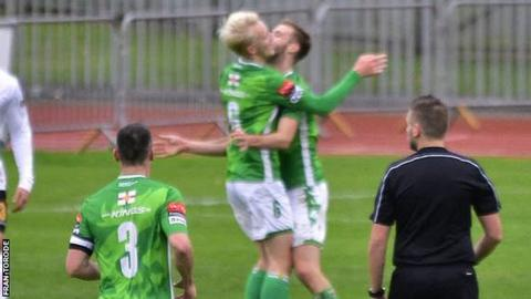 Thomas Dodds celebrates his first-ever goal for Guernsey FC