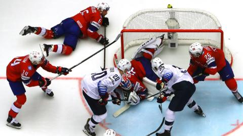 HERNING, DENMARK - MAY 13: Lars Haugen #30, goaltender of Norway tends net against of United States during the 2018 IIHF Ice Hockey World Championship Group B game between Norway and United States at Jyske Bank Boxen on May 13, 2018 in Herning, Denmark. (Photo by Martin Rose/Getty Images)