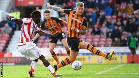 Stoke forward Mame Biram Diouf shoots at goal against Hull