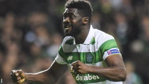 Celtic defender Kolo Toure celebrates after their 3-3 draw with Manchester City