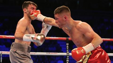 Ryan Burnett lands a right Lee Haskins during their IBF world title fight in June