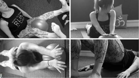 Split image of Pilates exercises