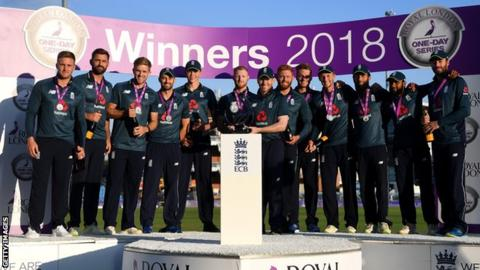 England celebrate series win over India