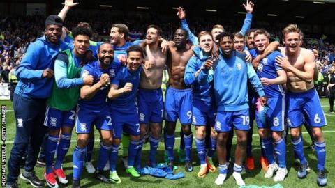 Michael Morrison (right) and his Birmingham City players celebrated like they had won the league at Ashton Gate - but the feeling in the dressing room is that it must now mark the start of better things to come for the club
