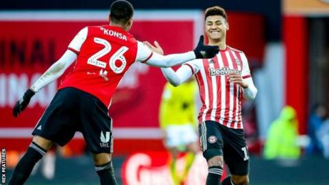 Ollie Watkins (right) scored his ninth and 10th goals of the season