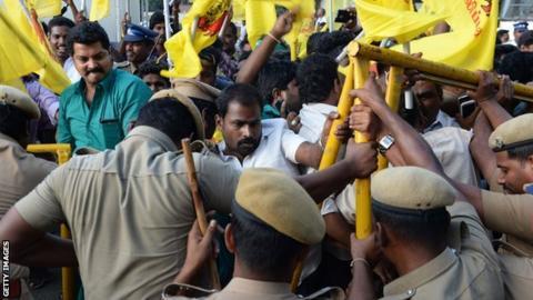 Protesters descend on Chennai Stadium