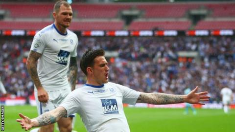 Andy Cook celebrates giving Tranmere Rovers the lead at Wembley