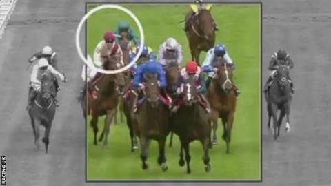 Footage from Racing UK showed what appeared to be a golf ball during the race
