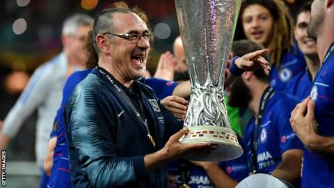 Chelsea manager Maurizio Sarri with the Europa League trophy