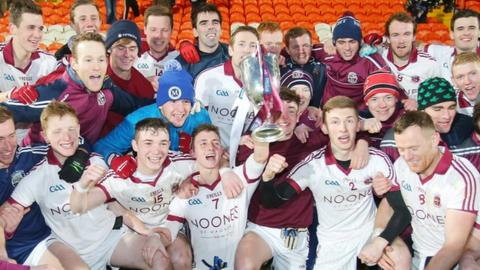 Celebration time for Slaughtneil after retaining the Ulster Club Football title with victory over Cavan Gaels last month