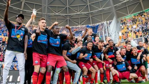 SC Paderborn celebrate securing promotion back to the Bundesliga
