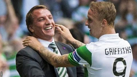 Celtic's Brendan Rodgers and Leigh Griffiths celebrate