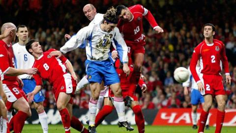 Wales reached the Euro 2004 play-off and despite holding Russia to a goalless draw in Moscow, lost 1-0 in the second leg in Cardiff.
