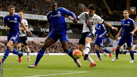 Tottenham forward Son Heung-min shoots at goal