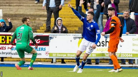 Queen of the South's Lyndon Dykes celebrates after scoring against Dundee United