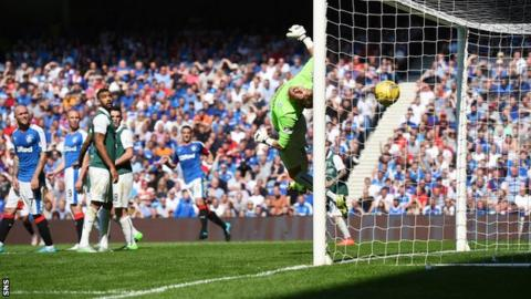 Rangers' James Tavernier opens the scoring at Ibrox