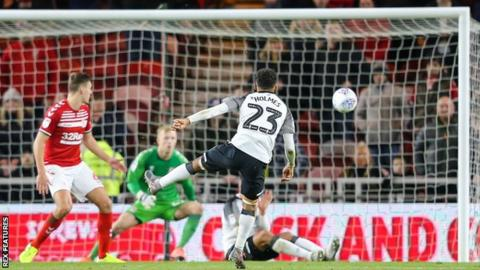Derby County's Duane Holmes scores