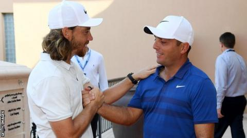 Tommy Fleetwood congratulates Francesco Molinari