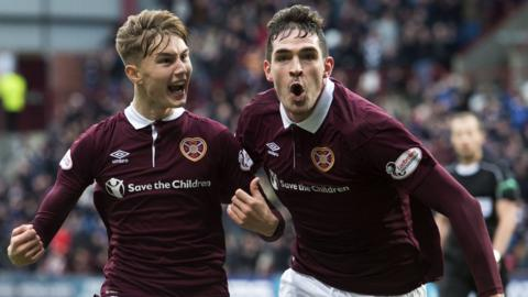 Harry Cochrane and Kyle Lafferty celebrate Hearts' opening goal