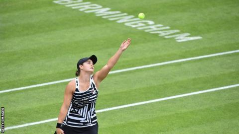 Ash Barty in action at the Nature Valley Classic