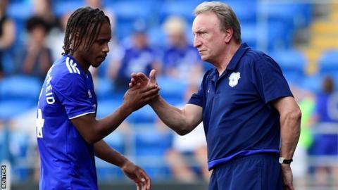 Cardiff boss Neil Warnock and striker Bobby Reid
