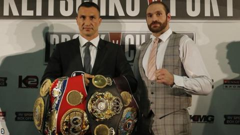 Tyson Fury, right, will attempt to become the first person to beat Wladimir Klitschko since 2004