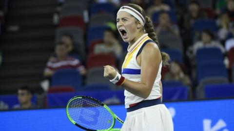 Jelena Ostapenko has extended her winning streak to eight matches