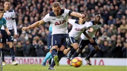 Harry Kane scoring a penalty against Swansea